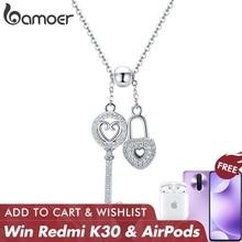 BAMOER Colgante romántico de cadena con llave de candado de corazón para mujer, de Plata de Ley 925, Collar de joyería de plata de ley SCN290