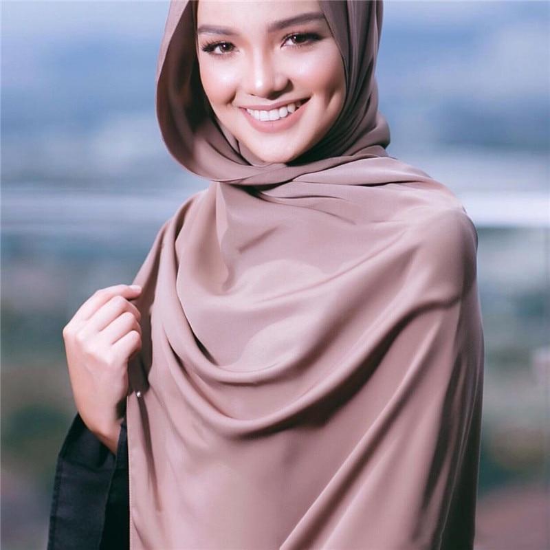 malaysia satin hijab scarf female plain shawls hijab femme musulman foulard femme muslim headscarf islamic wrap head scarves in Islamic Clothing from Novelty Special Use