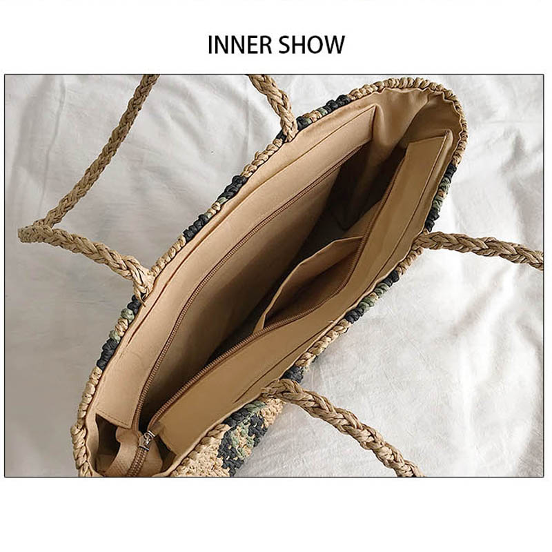 fashion striped straw bags casual rattan large women totes wicker woven female handbags shoulder bags summer beach travel purses