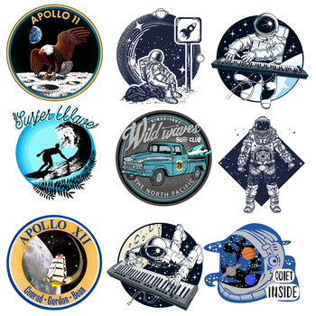 Astronaut Patch Space Planet Car Surfer Stickers for Kids Iron on Transfers for Clothing Accessory Applique DIY Heat Transfer O image