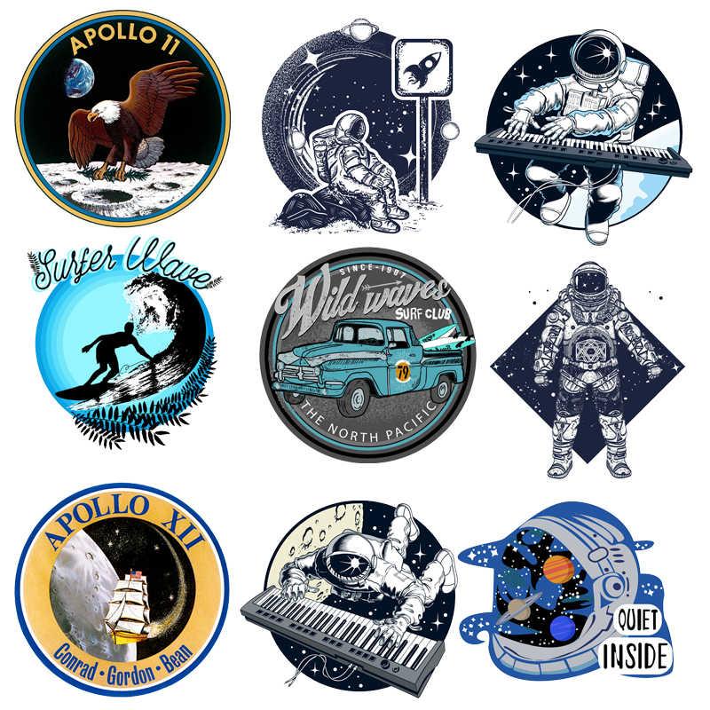 นักบินอวกาศ Patch Space Planet รถ Surfer สติกเกอร์สำหรับเด็กเหล็กบนโอนสำหรับเสื้อผ้าอุปกรณ์เสริม Applique ความร้อน DIY O