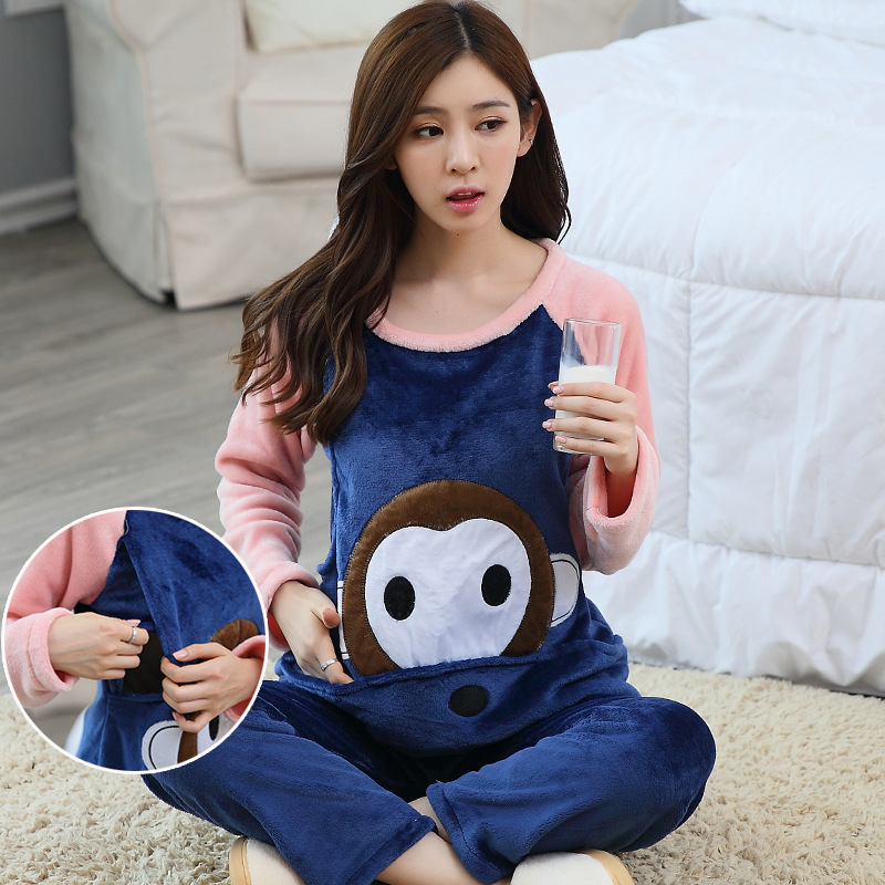 Pregnant Women Time Of Childbirth Flannel Autumn & Winter Mink Cashmere Thick Japanese Korean Hoodie Tracksuit Pajamas Coral Vel