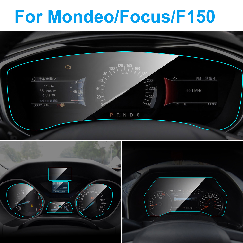 Car Instrument Panel Screen Protector For Ford Focus MK 3 MK 4 Fusion Mondeo F-150 Interior Protective TPU Film Car Accessories