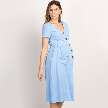 Button Pocket Maternity Dresses Pregnant Women Office Casual Clothes Cotton Summer Female Plus Size Pregnancy Dress Graduation plus button up pocket front pinstripe cami dress