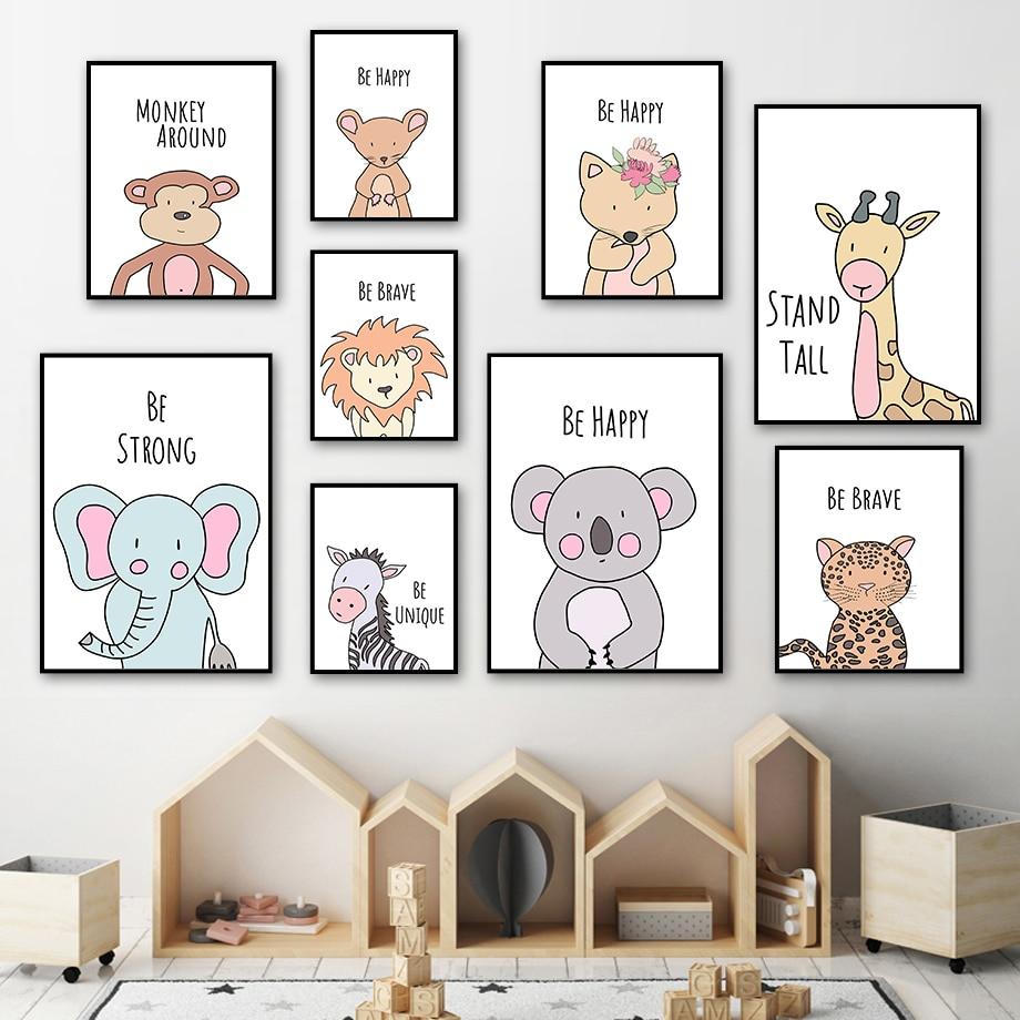 Cartoon Fox Lion Elephant Giraffe Zebra Koala Animals Nordic Posters And Prints Wall Art Canvas Painting Pictures Kids Room
