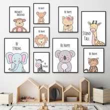 Cartoon Fox Lion Elephant Giraffe Zebra Koala Animals Nordic Posters And Prints Wall Art Canvas Painting Pictures Kids Room