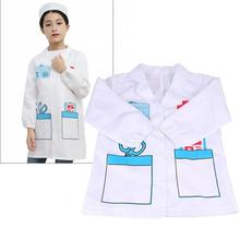 1Pc Nurse Role Play Children White Gown with Hat Nurse Costume Clothes for Kids Therapist Robe Doctor Overall for Cosplay Size S