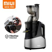 MIUI Slow juicer 7Lv Cold press extractor FilterFree patente Easy Clean 43rpm Large Diamete Quiete BPA Free 2020 Multi color PRO