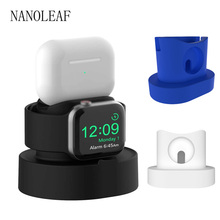 Charger Stand Holder for Apple Watch Watch 38MM 40MM 42MM 44MM Silicone Charger Dock for Airpods Pro iWatch 1 2 3 4 5 6 se cheap nanoleaf CN(Origin) Black Blue White For Apple Watch Series 1 2 3 4 5 for AirPods Phond And Watch Charger Dock for 38mm 42mm 40mm 44mm Series iWatch