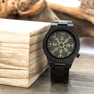 Image 5 - اليدوية بوبو الطيور الساعات الخشبية رجل إمرأة Runic دائرة ساعة مع هيلم الذهبي من الرهبة أو Vegvisir كوارتز ساعة اليد الذكور