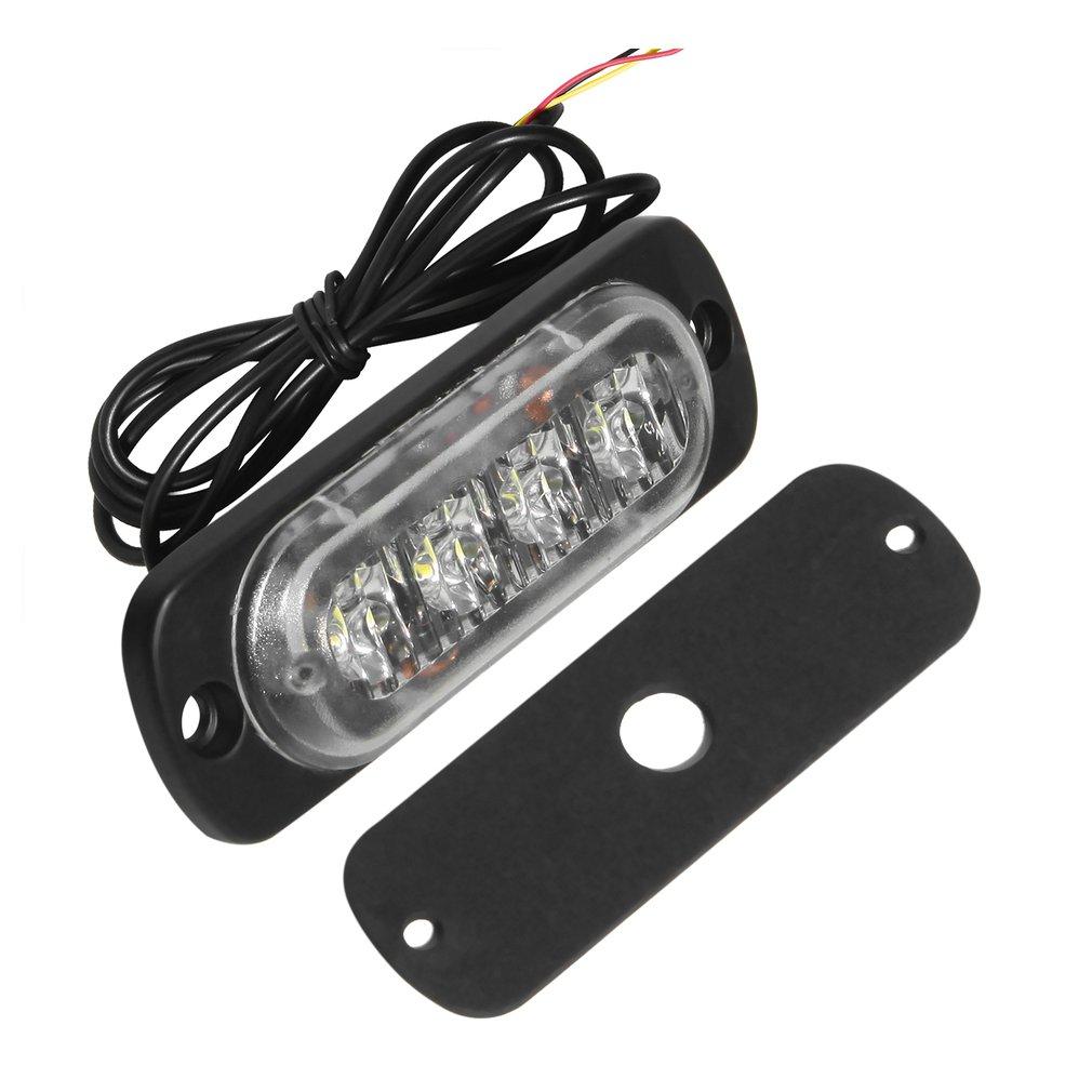 4 LED 12-24V Ultra-slim Car Vehicle Truck Strobe Flash Light Rear Side Light Car Emergency Warning Caution Lamp Car Styling