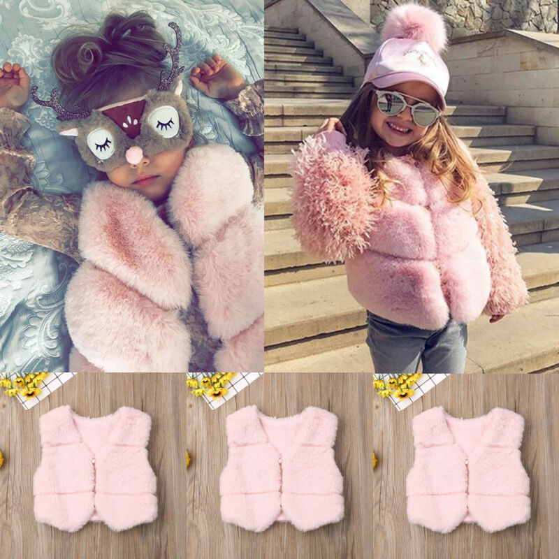 Autumn Winter Baby Girl Faux Fur Vest Waistcoat Kid Warm Jacket Outwear Coat Tops Clothes