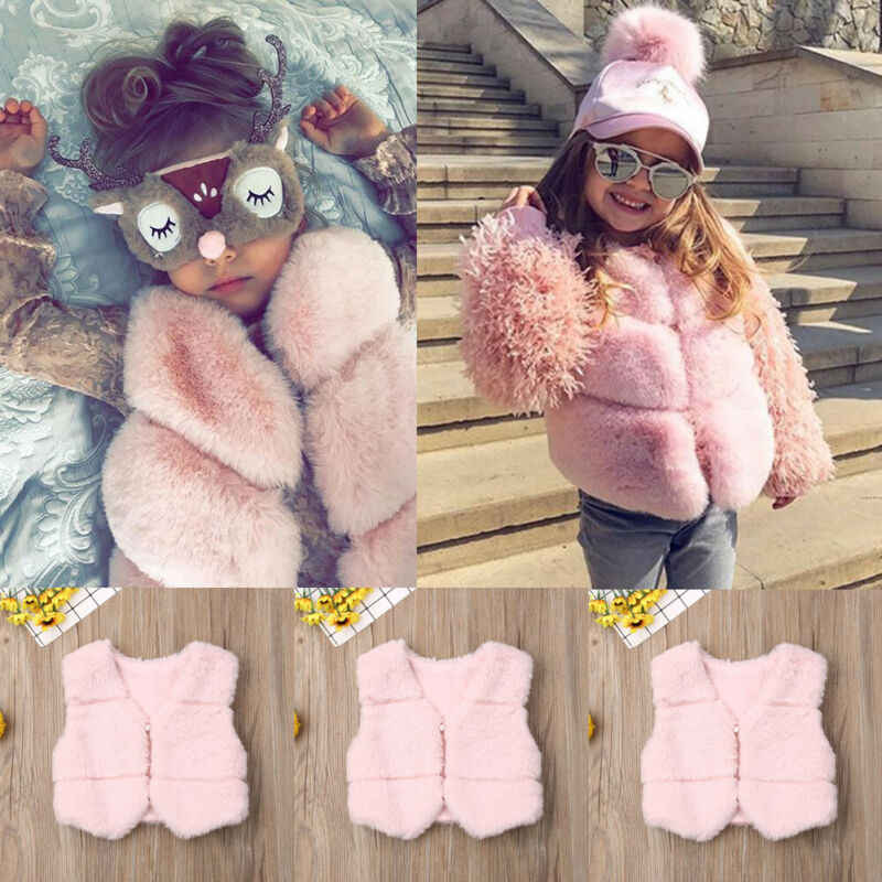Newborn Infant Baby Boys Girls Cute Autumn Winter Faux Fur Waistcoat Thick Coat Warm Outwear Vest Clothes