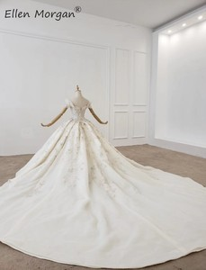 Image 3 - หรูหราคริสตัลลูกไม้ Gowns ชุดแต่งงานสำหรับสตรี Saudi Arabian Elegant Princess ปิดไหล่ชุดเจ้าสาว 2020