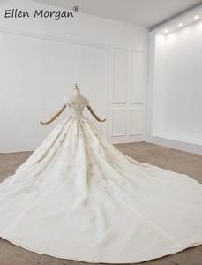 Image 3 - Lüks kristaller dantel balo elbisesi gelinlik kadınlar için suudi arabistan zarif prenses kapalı omuz gelinlikler 2020