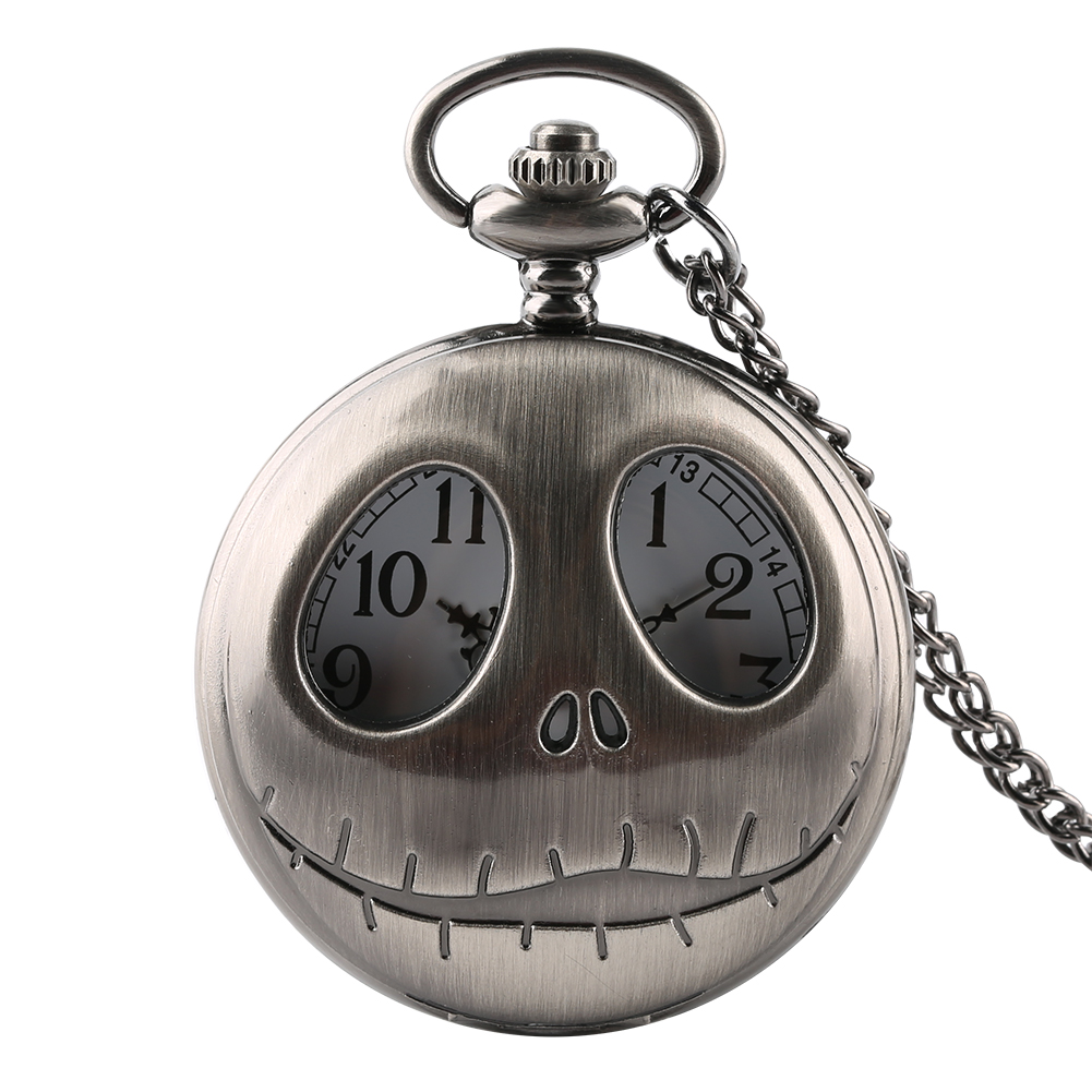 Pocket Watch Tim Burton The Nightmare Before Christmas Quartz Retro Frog Big Eyes Jack Skellington Necklace Pendant Skull Watch