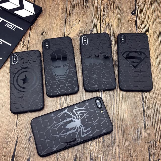 Etui Marvel na iphone X 11 PRO XS MAX XR 8 7 6 6s plus etui na telefon miękkie matowe 3d silikonowe żelazko człowiek Spiderman Avengers coque case