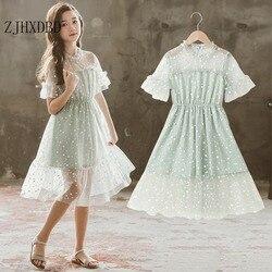 Meninas vestido de princesa verão 2020 nova menina coreana roupas para crianças vestido verde senhora menina malha rendas crianças novas roupas