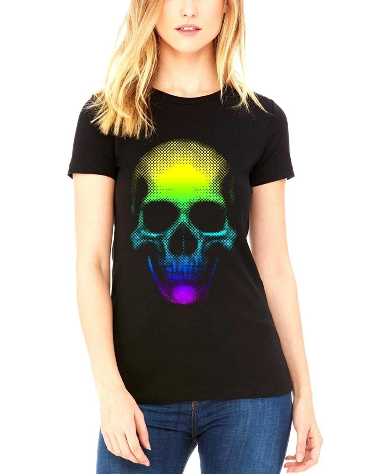 Velocitee Ladies Long Sleeve T-Shirt Colourful Skull Scary Horror Goth V130