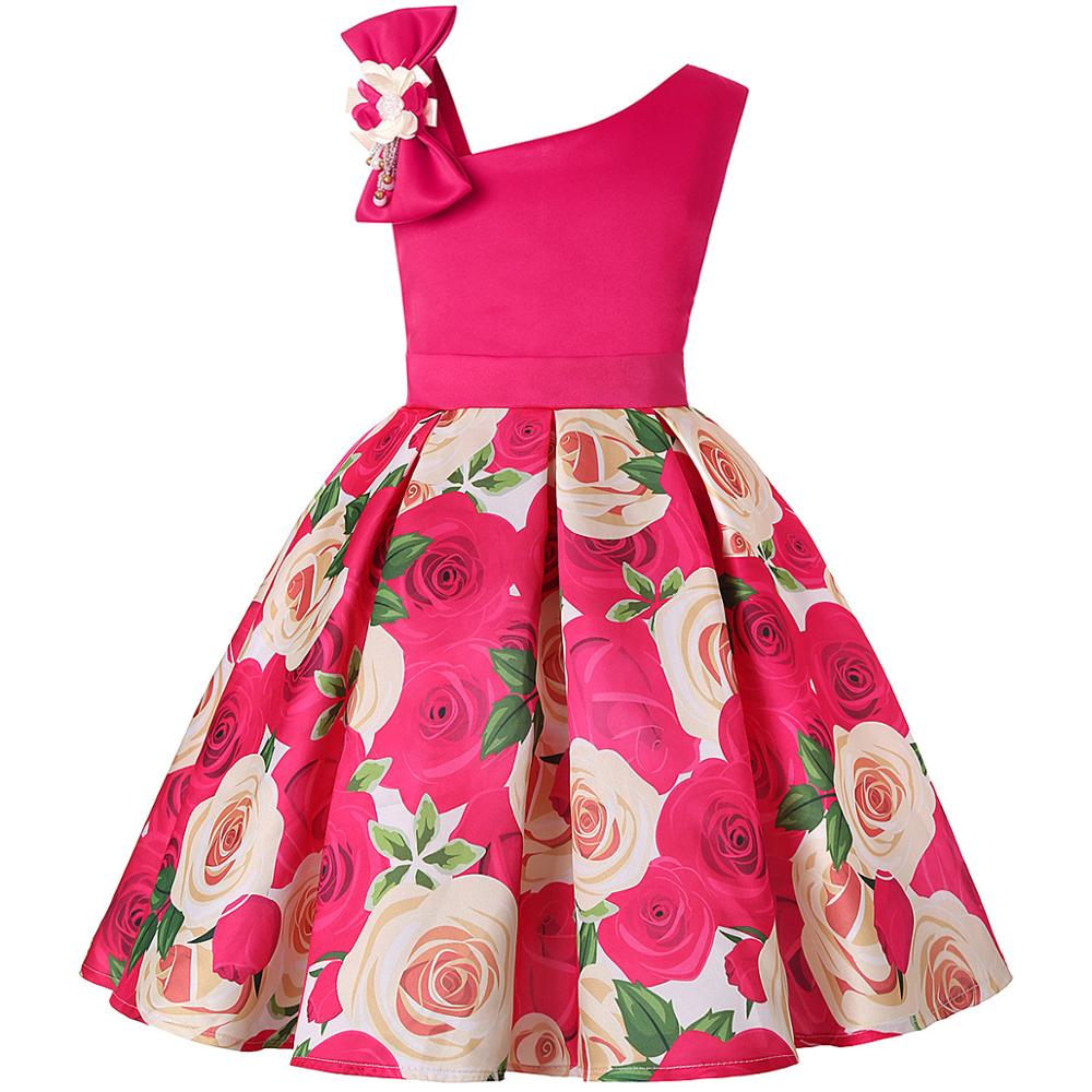 Summer Dress Kids Clothes Girls Rose Wedding Dress For Girls Print Party Princess Dresses Children Clothing vestidos 10 12 Year 3