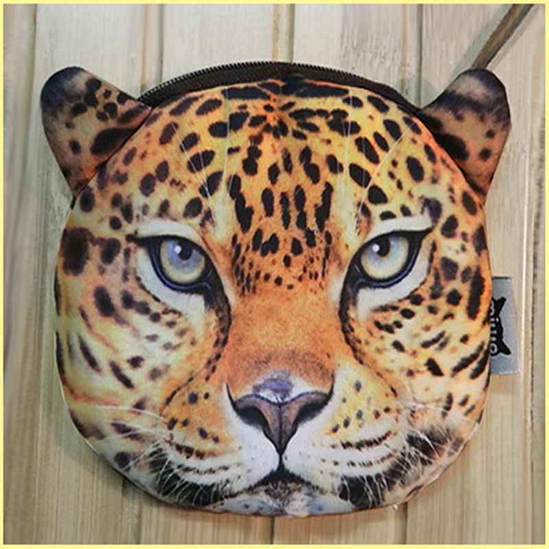 Jungle Animal Purse Kitten Wallet Toy Purse 3D Digital Printing Tiger