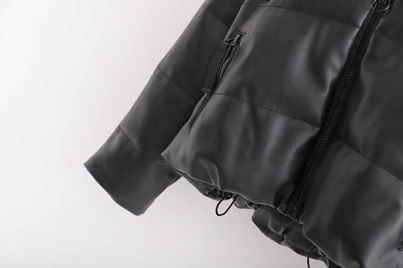 Новинка, женские парки из искусственной кожи с длинным рукавом, искусственная кожа, большие размеры, черная зимняя куртка, пальто zora pu с капюшоном za Parkas, верхняя одежда 2019