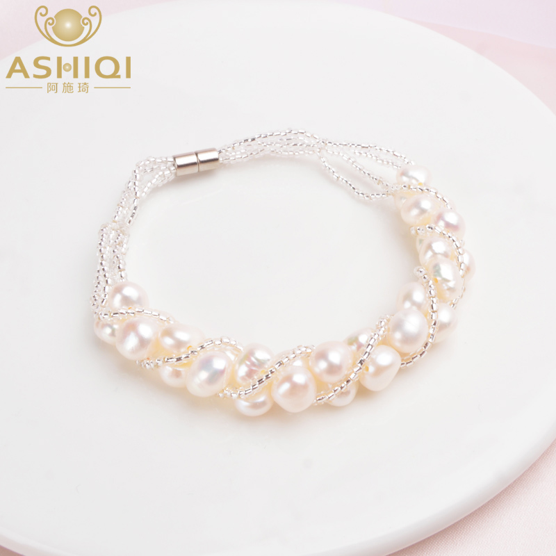 ASHIQI Natural Freshwater Pearl Bracelet For Women Fine Handmade Fashion Transparent Glass Beads Jewelry Wedding Gifts