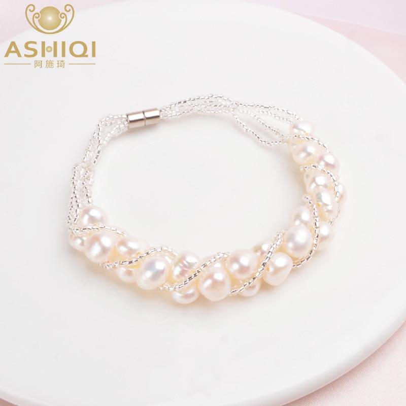 ASHIQI Natural Freshwater Pearl Bracelet For Women Fine Handmade Fashion Transparent Glass Beads Jewelry Wedding Gifts