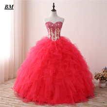 New Lace Quinceanera Dresses 2019 Ball Gown Beaded Lace Up Sweet 16 Dresses Formal Prom Party Gown Vestido De 15 Anos BM34 цена
