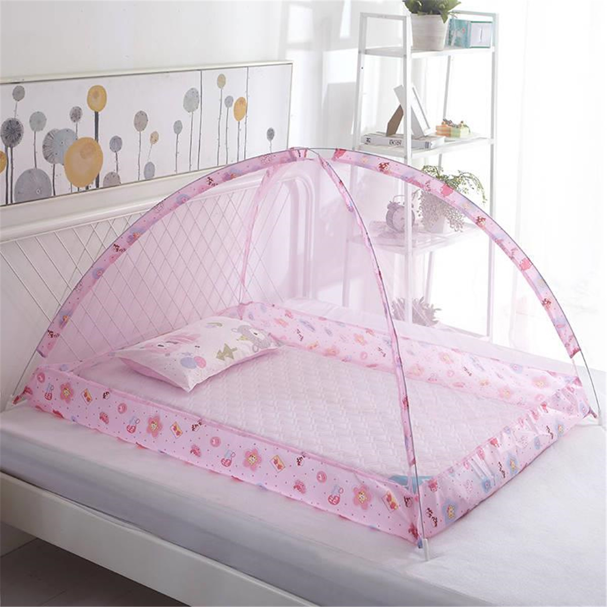 Pink Baby Bed Canopy Mosquito Net Netting Cover Infant Cot Tent Net