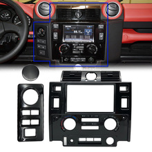 Auto Styling Stereo Dubbele 2 Din Dash Kit Dashboard Center Console Voor Land Rover Defender Glossy Zwart Mat Zwart Carbon look