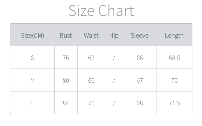 Women's Bodysuits Size Chart