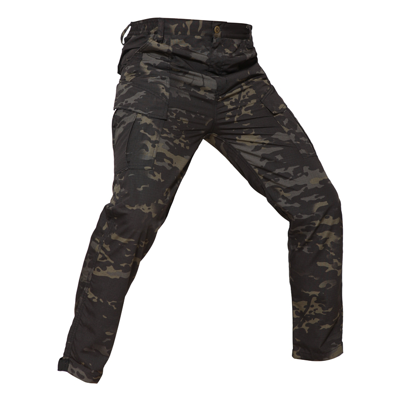 Urban Casual Cargo Pants Ripstop Outdoor Military Training Pants Men Multicam & Black(SKU051350)