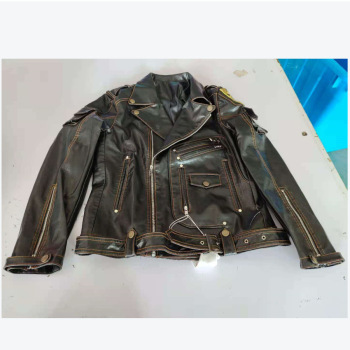 Classical Motorcycle Leather Jackets Men's Spring Coat Jacket Slim Multi Pocket Zipper Coat Solid Color Genuine Leather Coat