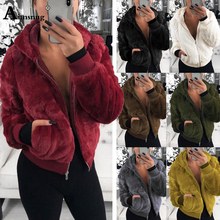 Aimsnug Plus Size S-3xl Small Rabbit Fur Zipper 2019 Autumn Winter Womens Coat Solid Burgundy Slim Hat collar Female Jacket