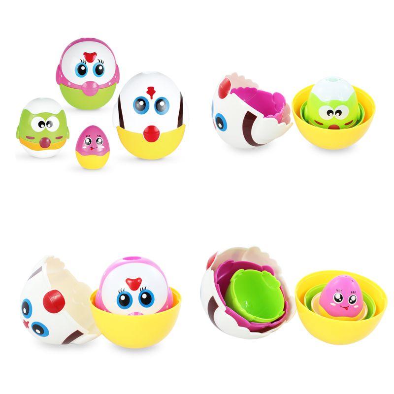 Jouets éducatifs oeuf nidification poupées pour enfant en bas âge, apprentissage préscolaire empilement jouets pour bébé filles et garçons Y4QA - 2