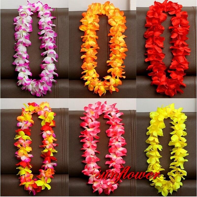 1PCS Hawaiian Artificial Flowers Leis Garland Necklace Flowers Wreath DIY Fancy Dress Accessories Hawaii Beach Party Decoration