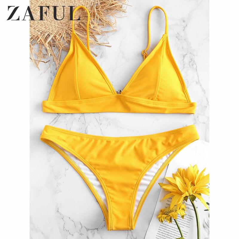 ZAFUL 2019 New Summer Women Solid Bikini Set Push-up UnPadded Bra Swimsuit Swimwear Triangle Bather Suit Swimming Suit Biquini