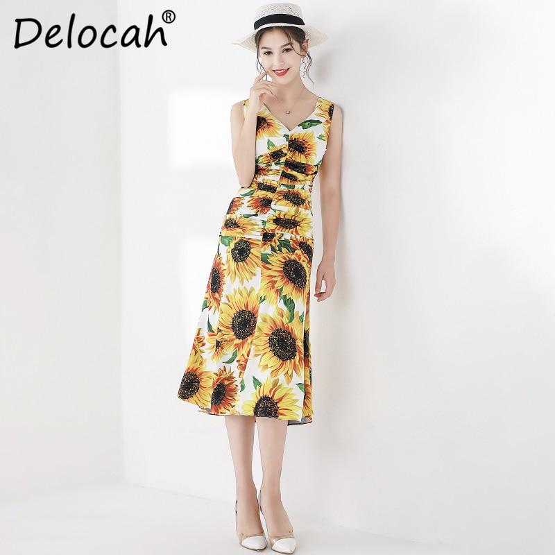 Delocah mode automne robe mi-longue femmes col en v tournesol imprimé drapé recueillir taille élégante décontracté Trumpe robes de sirène