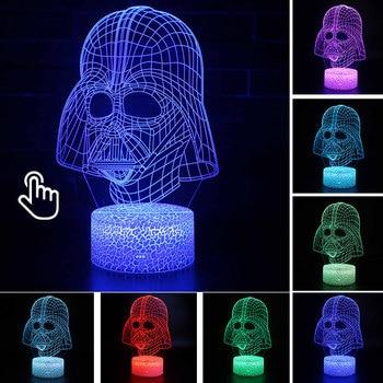 Star Wars Darth Vader Anime Figure Acrylic 3D Illusion LED Lamp Colourful NightLight Death Star Mask Yoda Model Toys Child Gift 11