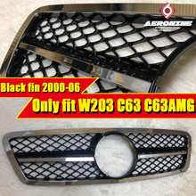For MercedesMB W203 C63 look Electroplate Black fin Grille ABS Sport C-class C180 C200 C250 C300 Without Sign Look Grill 2000-06