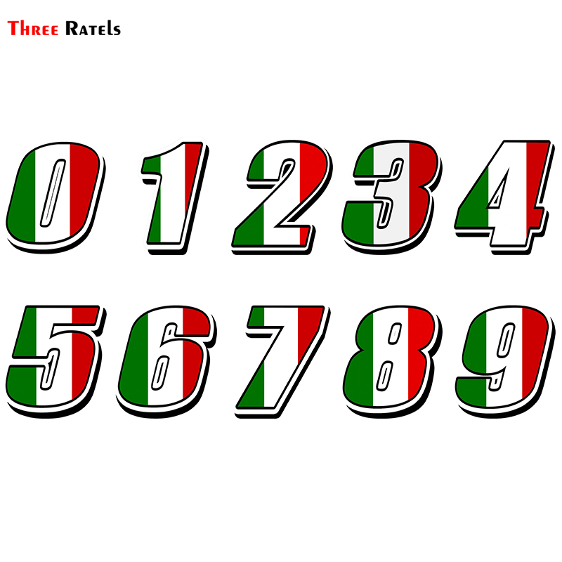 Three Ratels FTC-876#  Italy Italian Flag Car Styling Racing Number Motocross Auto Stickers Bike  Waterproof Decals