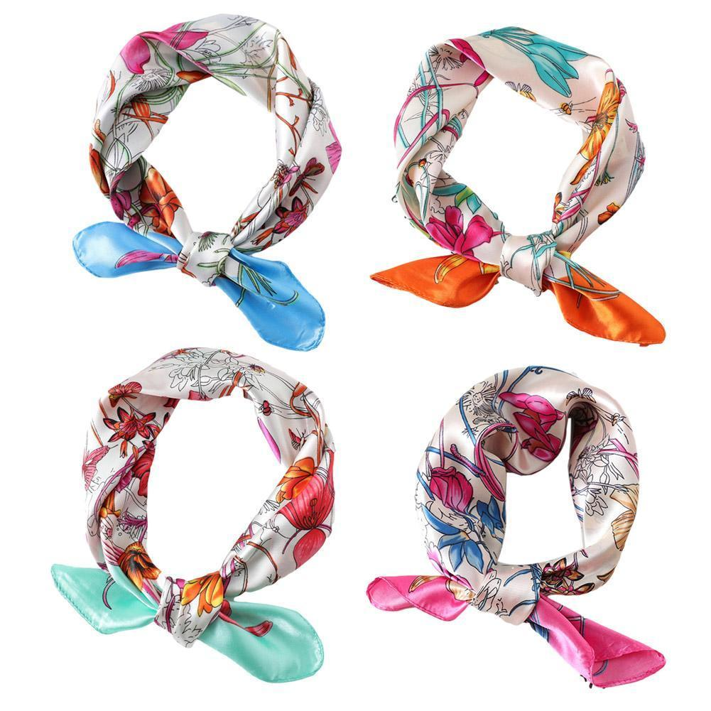 Square Silk Scarf 2021 Fashion Silk Satin Print Small Women Head scarf Bandana Headscarf Female Shawl Kerchief Neck Accesso T4O0