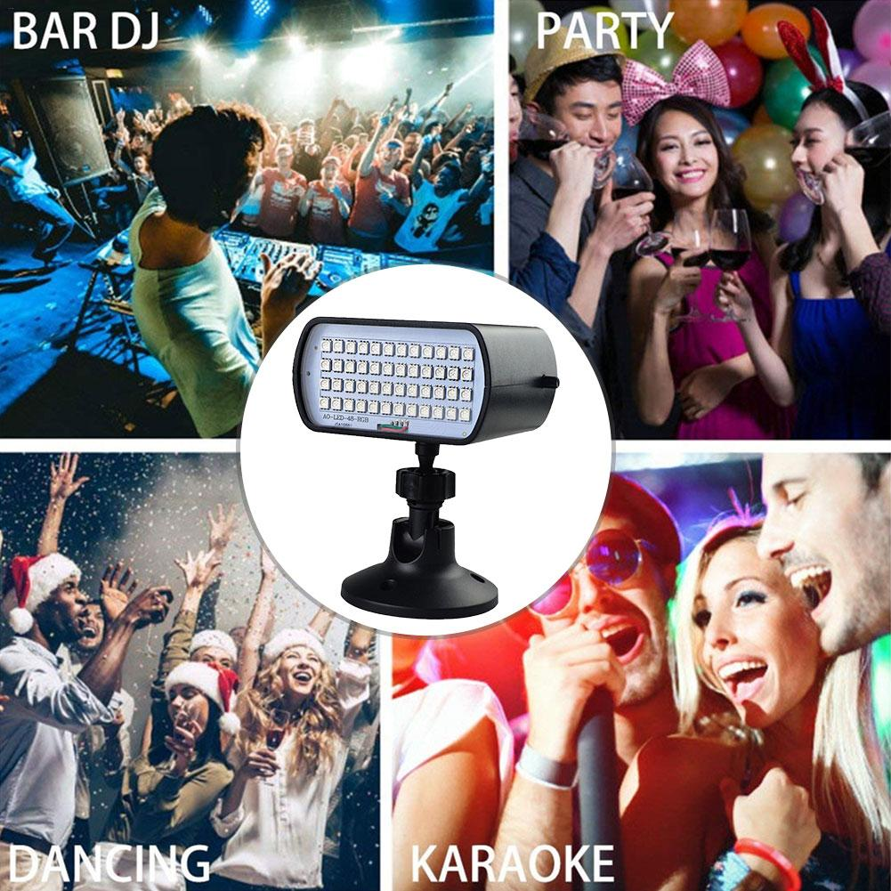 RGB 48 Светодиодный светильник-стробоскоп, компактная звуковая лампа для дискотеки, DJ, вечерние, для рождественского музыкального клуба