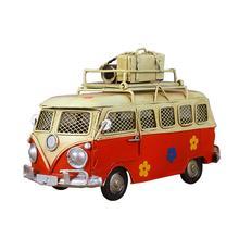 Alcancía de hierro Vintage autobús de lata memoria nostálgica de la infancia Metal arte regalo casa decoraciones marco (rojo)