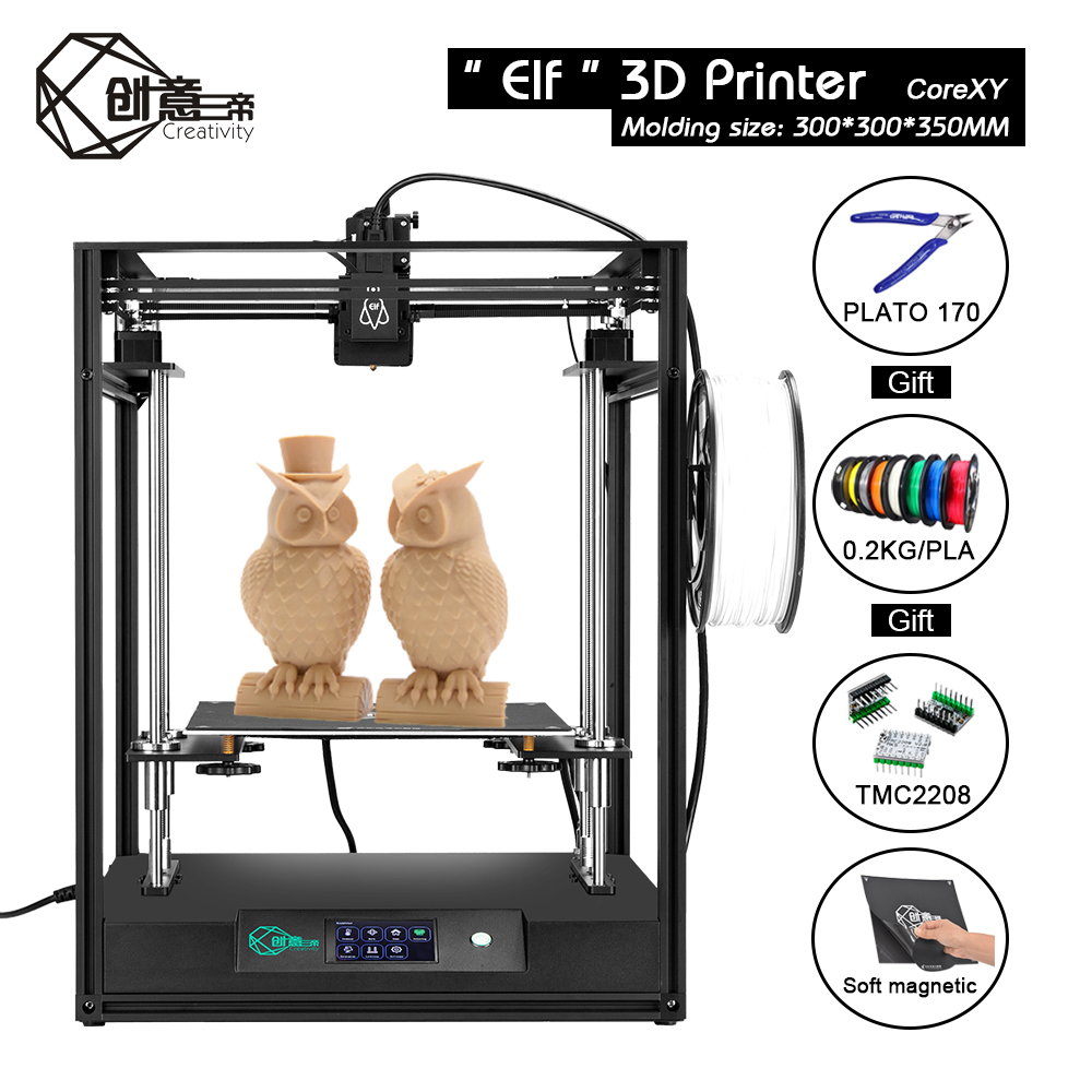 Image 3 - CoreXY Elf Dual Z Axis 3D Printer High Precision Aluminum Profile Frame Large Area FDM Low noise with TMC2208 3dTOUCH3D Printers   -