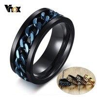 Vnox-Anillo giratorio único para hombre, banda de acero inoxidable negra con eslabones giratorios, anillos hermanos de Alianza masculina antialérgicos