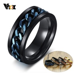 Vnox Unique Rotatable Chain Mens Ring Black Stainless Steel Band With Spinner Link Anti-allergy Male Alliance Fraternal Rings