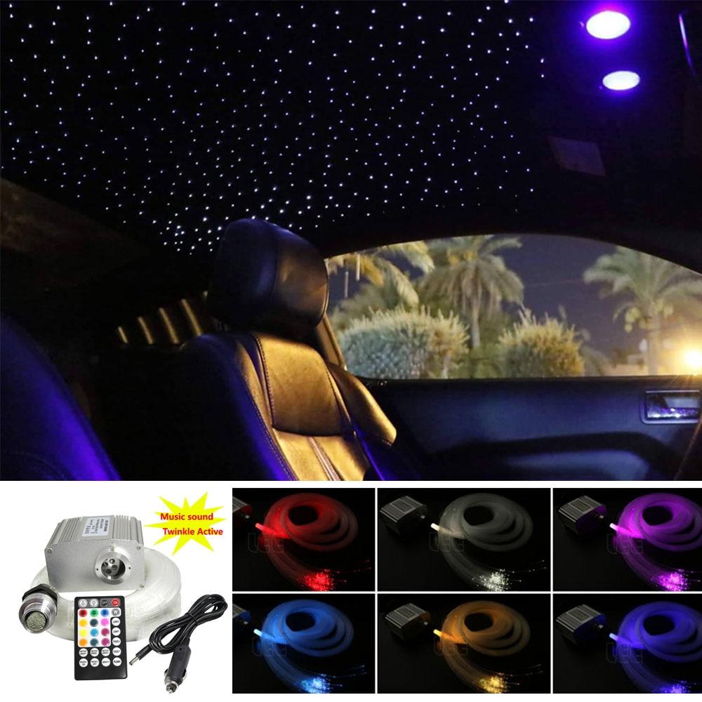 Musique Active 10W RGBW scintillant LED Fiber optique étoile plafonnier Kit 150/200 pièces * 0.75mm * 2M Fiber optique voiture étoilé lumières