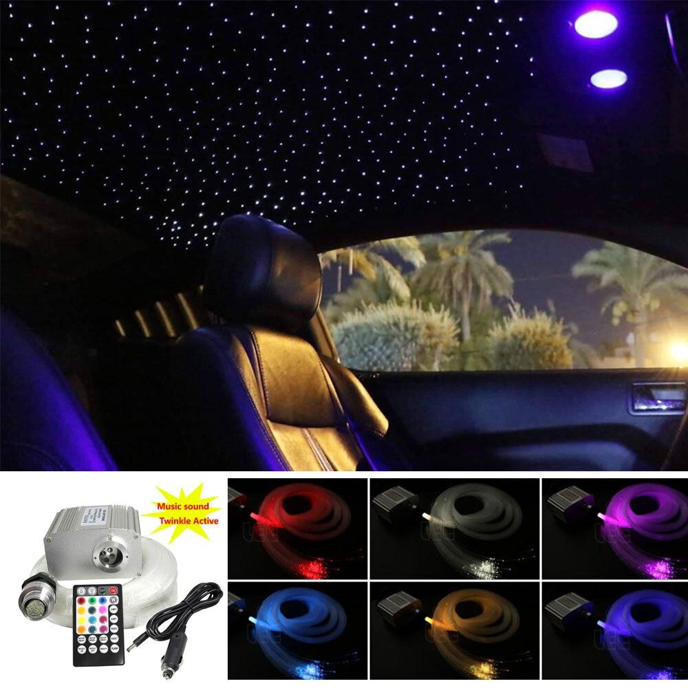 Muziek Actieve 10W RGBW Twinkle LED Glasvezel Ster Plafond Licht Kit 150/200pcs * 0.75mm * 2M Glasvezel Auto Sterrenhemel Verlichting